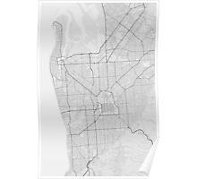 Adelaide, Australia Map. (Black on white) Poster