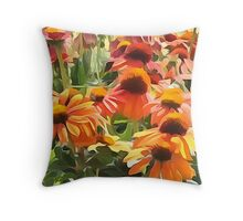 Orange Coneflowers  Throw Pillow