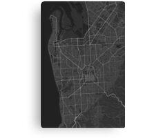 Adelaide, Australia Map. (White on black) Canvas Print