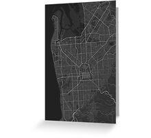 Adelaide, Australia Map. (White on black) Greeting Card