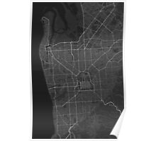 Adelaide, Australia Map. (White on black) Poster
