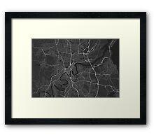 Brisbane, Australia Map. (White on black) Framed Print