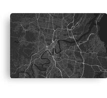Brisbane, Australia Map. (White on black) Canvas Print