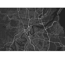 Brisbane, Australia Map. (White on black) Photographic Print