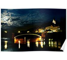 The Rhine Bridge at Night.......Full Moon 28th of Sept. Poster