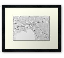 Melbourne, Australia Map. (Black on white) Framed Print