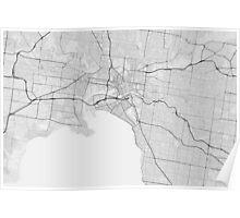 Melbourne, Australia Map. (Black on white) Poster
