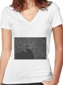 Melbourne, Australia Map. (White on black) Women's Fitted V-Neck T-Shirt