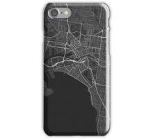 Melbourne, Australia Map. (White on black) iPhone Case/Skin