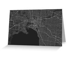 Melbourne, Australia Map. (White on black) Greeting Card