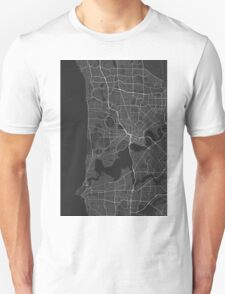 Perth, Australia Map. (White on black) Unisex T-Shirt