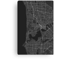 Perth, Australia Map. (White on black) Canvas Print
