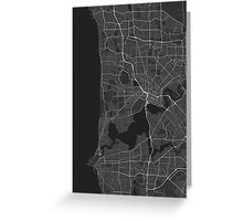 Perth, Australia Map. (White on black) Greeting Card
