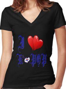 I LOVE K POP MUSIC. Women's Fitted V-Neck T-Shirt
