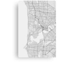 Perth, Australia Map. (Black on white) Canvas Print