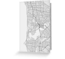 Perth, Australia Map. (Black on white) Greeting Card