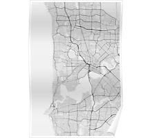 Perth, Australia Map. (Black on white) Poster
