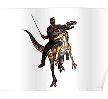 star lord riding a velociraptor Poster