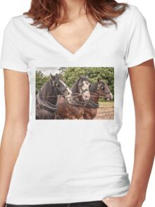 The Three Amigos - Heavy Work Horses Women's Fitted V-Neck T-Shirt