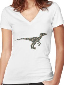 Floral Dinosaur Women's Fitted V-Neck T-Shirt