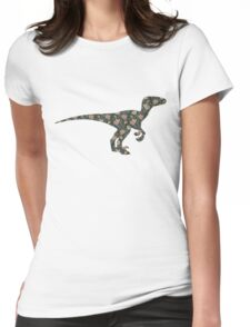 Floral Dinosaur Womens Fitted T-Shirt