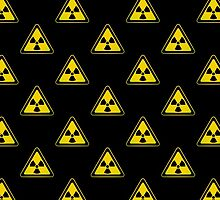 Radioactive Symbol Warning Sign - Radioactivity - Radiation - Yellow & Black - Triangular - Tiled by graphix