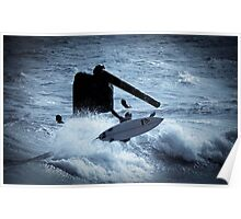 Surfing Cottesloe beach Poster