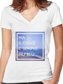 Cielo Blu Women's Fitted V-Neck T-Shirt