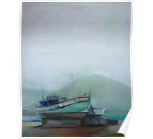Misty morning at Houtbay Harbour. Poster