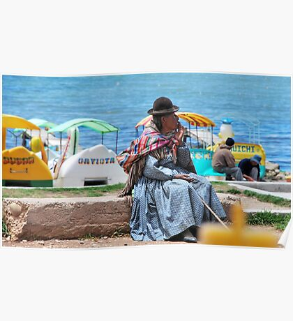 Bolivian Lady by the Shore of the Lake Poster