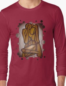Abstract Lovers In Brown Long Sleeve T-Shirt