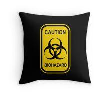 Caution Biohazard Sign - Yellow & Black - Rectangular Throw Pillow