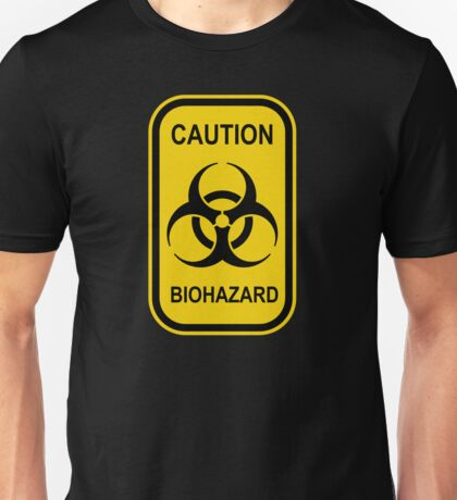 Caution Biohazard Sign - Yellow & Black - Rectangular Unisex T-Shirt
