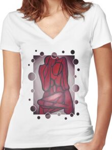 Abstract Lovers In Red Women's Fitted V-Neck T-Shirt