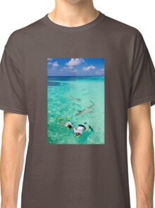 Snorkeling with sharks in the Maldives Classic T-Shirt