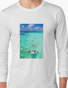 Snorkeling with sharks in the Maldives Long Sleeve T-Shirt
