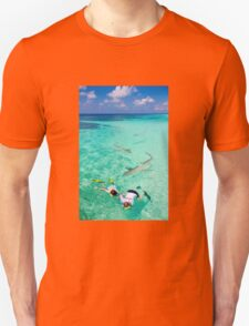 Snorkeling with sharks in the Maldives T-Shirt