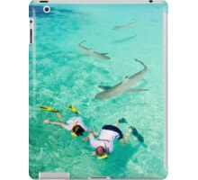Snorkeling with sharks in the Maldives iPad Case/Skin