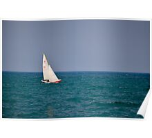 Red Sailboat ~ Lake Michigan Poster