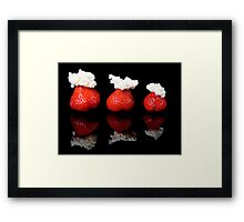 Strawberries and whipped cream Framed Print