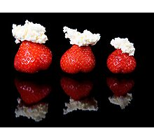 Strawberries and whipped cream Photographic Print