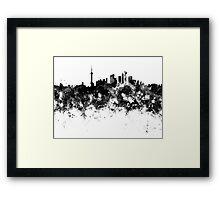 Shanghai skyline in black watercolor Framed Print