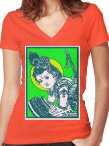 BABY KRISHNA Women's Fitted V-Neck T-Shirt
