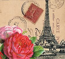 Eiffel Tower and Roses by claryce84