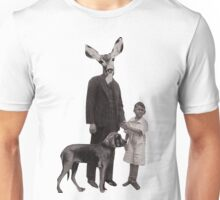 deer man with dog and boy Unisex T-Shirt