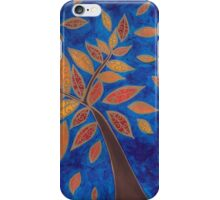 Windy Autumn Surprise Blue and Gold Tree and Leaves iPhone Case/Skin