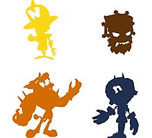 Crash Bandicoot (Foes) - Coloured Silhouettes Photographic Print