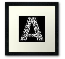 Letter A, black background Framed Print
