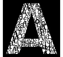 Letter A, black background Photographic Print