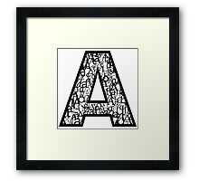 Letter A, white background Framed Print